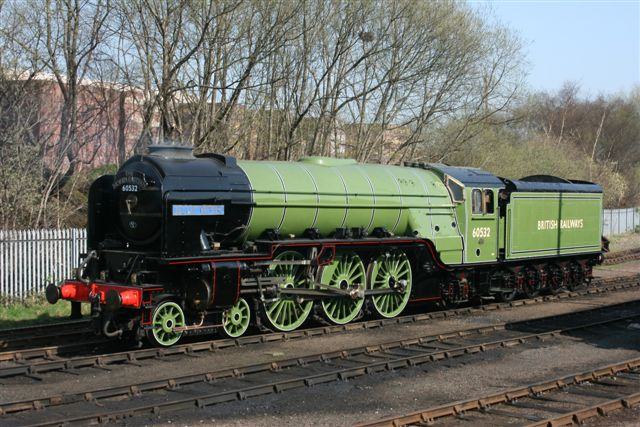 In retirment. Blue Peter in apple green BR livery as a static exhibit at Barrow Hill Gala, 3rd April 2009 - Dave Whitfield