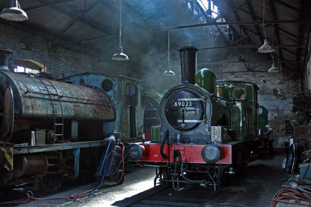 J72 in Marley Hill Shed with Hawthorn Leslie 0-6-0ST at start of its restoration - Dave Whitfield