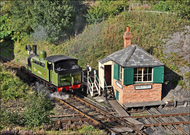 J72 receiving the single line token from the signalman at Marley Hill box - Colin Smith