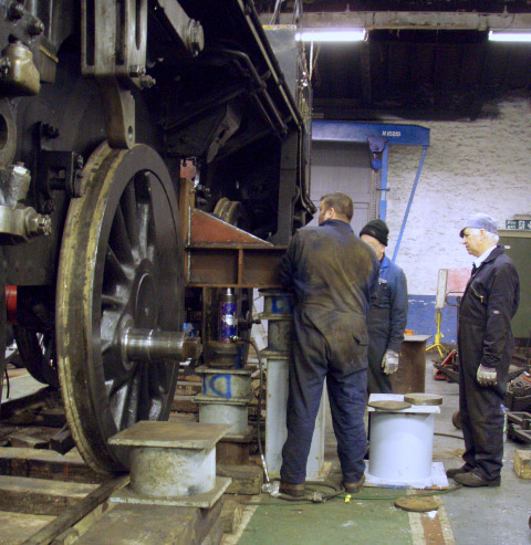 Rear of locomotive being lifted on two special brackets fitted to the  firebox cutout in the frames - Nigel Hall