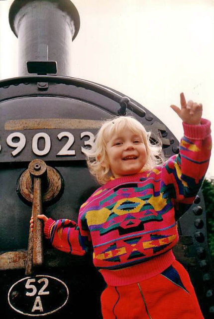 Natalie when Joem arrived in 1994. The picture was published with the caption 'Railway Child' - Sally Halls