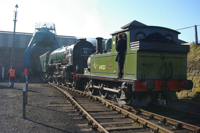 Joem shunting Tornado under the coaling plant at Barrow Hill (15 April 2012) - Chris Lawson