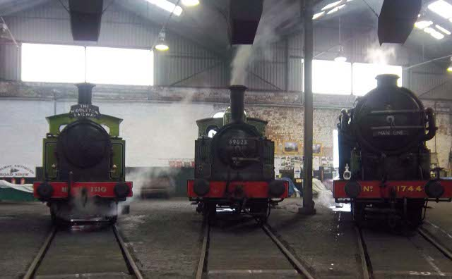 In roundhouse with the J72 between the Y7 from the Middleton railway and the N2 - Peter Shields