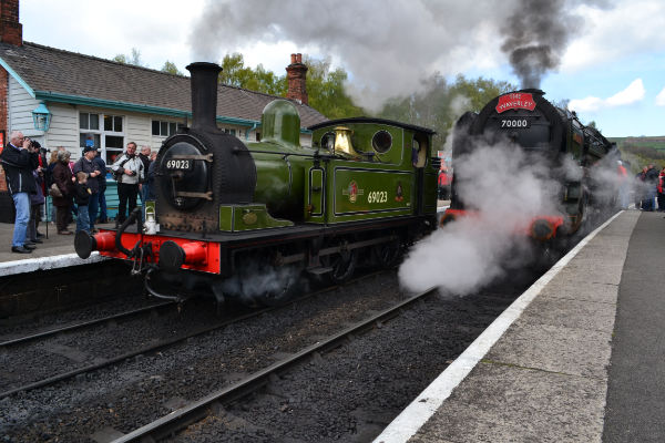 J72 sits in platform one with Britania in platform 2 at Grosmont - Iain Cordeux