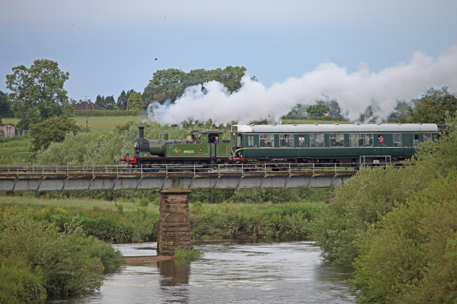 14:45 and the J72 again heads across the Swale Bridge with it's next train - Maurice Burns