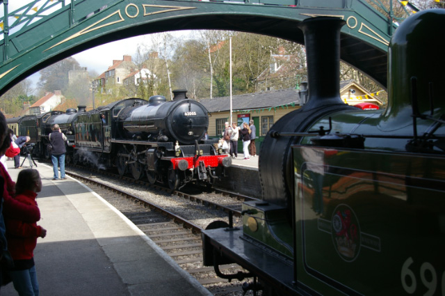 The K1 arriving at Pickering on the 11am ex Whitby, double heading with B1 No 61246 running as 61002 Impala, and passing the J72 standing in Platform 2 waiting departure on the Old Gentleman's Saloon shuttle to Levisham - Chris Lawson