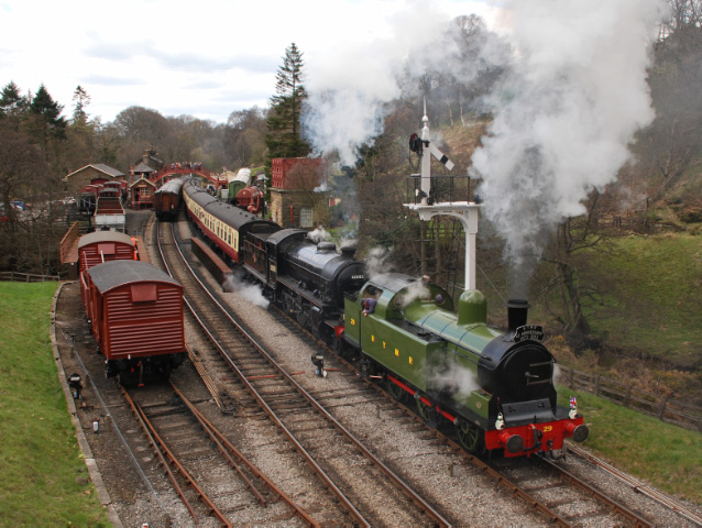 No 29 and 62005 depart Goathland  - Dave Pearson