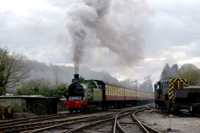 No 29, turned at Pickering, heads the train past New Bridge yard with the K1 at the rear - Chris Lawson