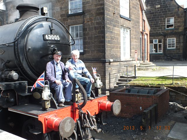 The K1 waiting to join its train at Grosmont. Two NELPG stalwarts sitting on the running board: Terry Newman and one time NELPG chairman and CME, and NYMR driver Maurice Burns - Richard Jackson