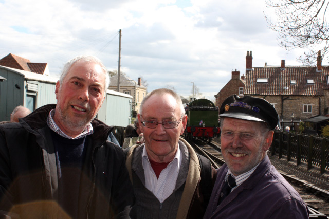 Terry Newman, Nick Carter and Richard Oxlade. All involved in the early days, Richard, with a lot of NELPG help, built the loco shed. No 29 has just come of the train at Pickering and will go down to the turntable - pp Nick Carter