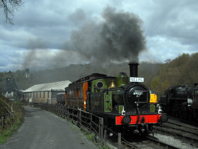 69023 leaving Grosmont with the Old Gentleman's Saloon - John Midcalf