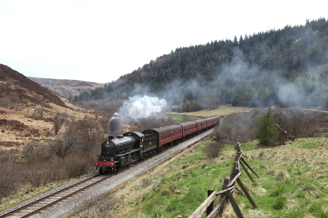 NELPG's K1 2-6-0 No 62005 especially turned to face Grosmont and on its last run over the NYMR prior to movement to Fort William brings the 12:00 Pickering to Grosmont train past Carter's house - Maurice Burns