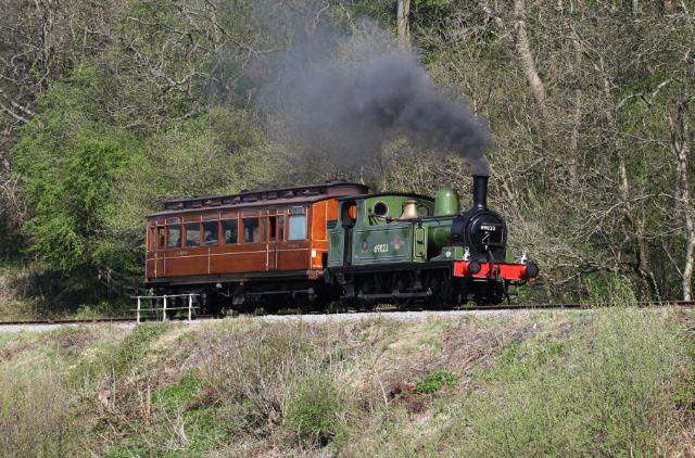 NER J72 69023 Joem climbs through Green End with Chris Lawsons NER Gentlemans saloon on May 5th. Sadly the saloon developed a buffer problem on May 9th ans had to be taken out of service - Maurice Burns