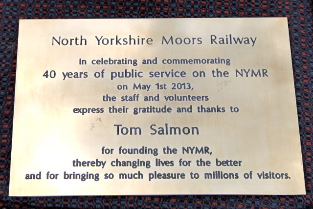The plaque presented to Tom Salmon - Maurice Burns