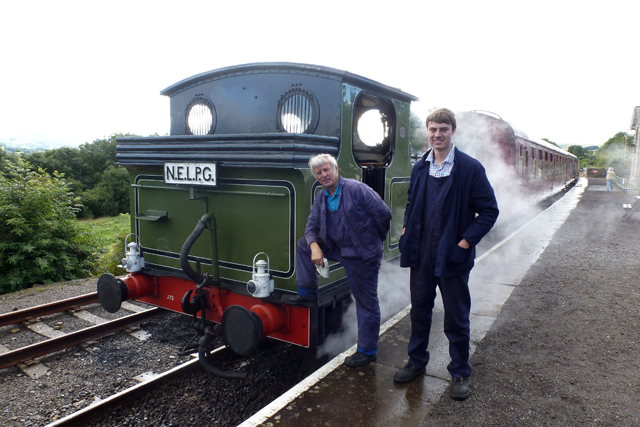 Driver Fred Ramshaw and Fireman James Pearcy ready to depart Redmire on 26th August - Alan Usher