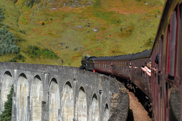 With the bracken just turniing to brown, the K1 heads over Glenfinnan Viaduct on 1st October - Iain Cordeux