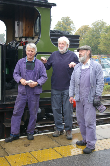 The crew - Fred Ramshaw and Peter Shields - pose with the footplate experience trainee in front of the J72 at leeming Bar station on 18 October 2013 - Chris Lawson