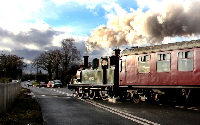 Joem crossing the resurfaced Aiskew level crossing on the 12.30 Santa Special to Newton le Willows - Maurice Burns