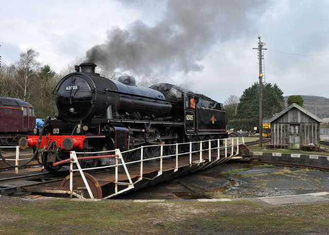 The K1 completes turning on the Carnforth turntable prior to departure - Colin Smith