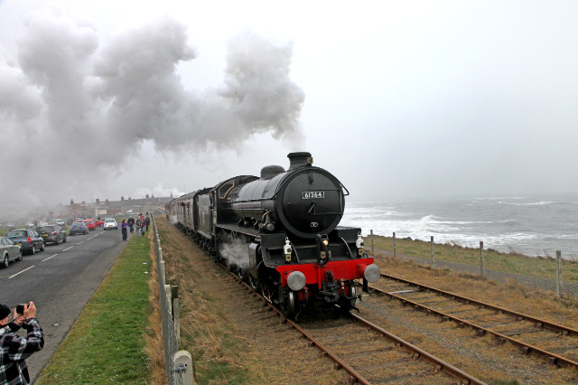 The B1 skirts the North sea at North Blyth. This is only the second steam train on this route since 1966 -  Maurice Burns