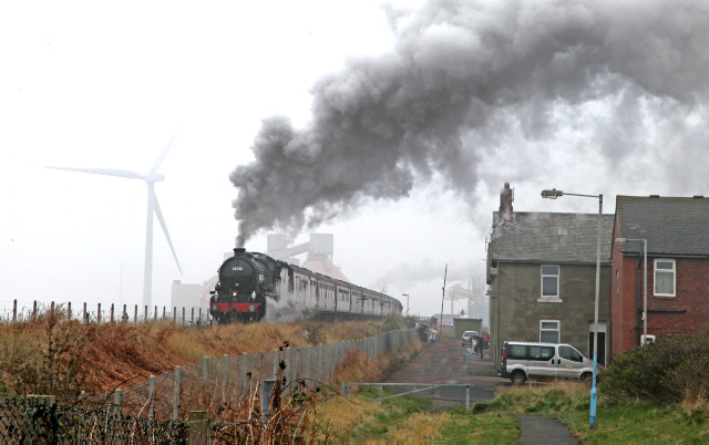 The K1 accelerates away from the industrial landscape of North Blyth bound for Newcastle and the south -  Maurice Burns