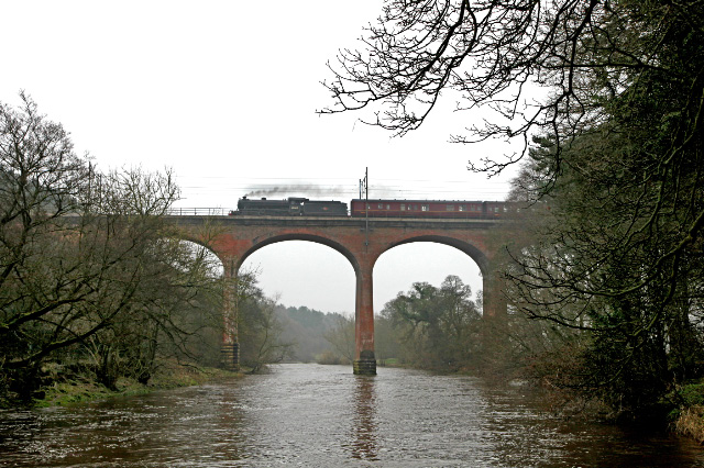 The K1 speeds across the River Wear at Croxdale bound for Middlesbrough and the North Yorkshire Coast -  Maurice Burns