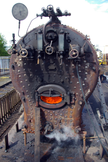Q6 firebox during insurance steam test at LNWR Crewe - Chris Lawson