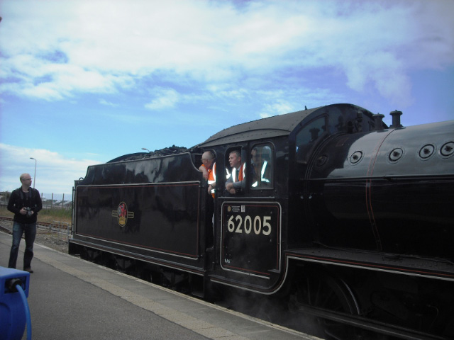 Jon Wilkinson and Nigel Bill on the footplate of 62005, about to run round the stock at Mallaig - John Midcalf