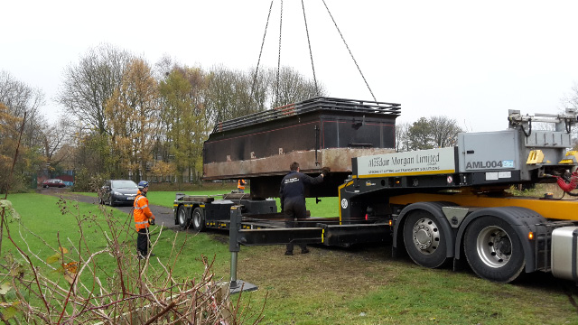 Lowering tank onto low loader - Nigel Hall
