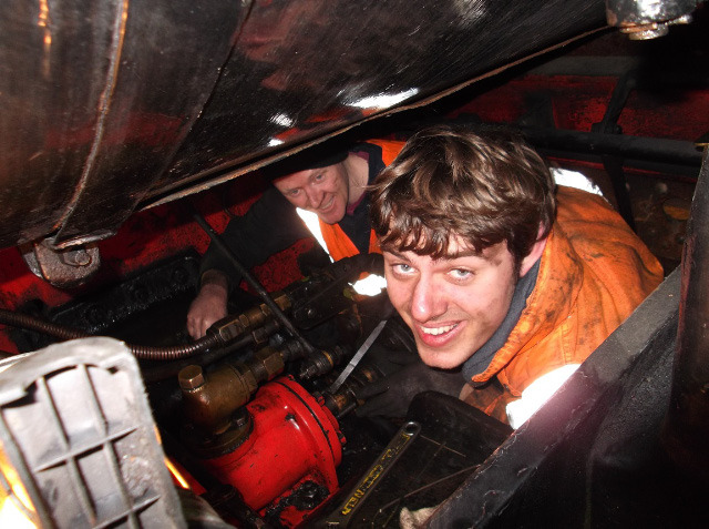 James Pearcy and Alan Hardie repacking glands on the steam reverser - Darrin Crone