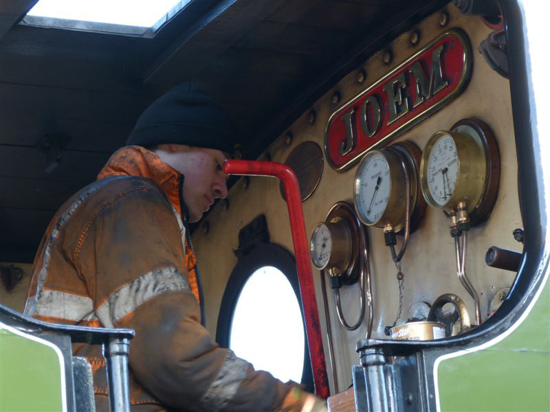 James Pearcy polishes the cab pipework - Terry Newman