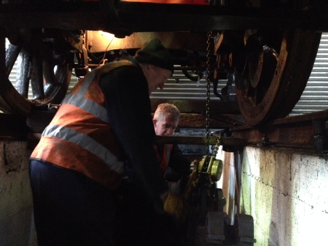 Alan hardie and Paul Swainston removing a loco spring - Neal Woods