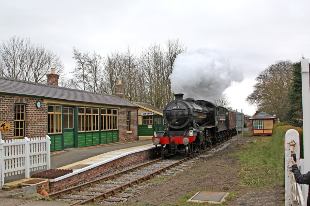 The K4 approaches the refurbished Scruton Station - Maurice Burns