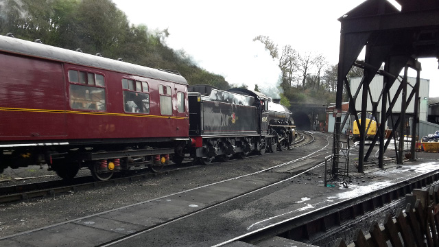 Nearly there, The K1 and coach pass Feviation Shed on the way to Grosmont - Nigel Hall