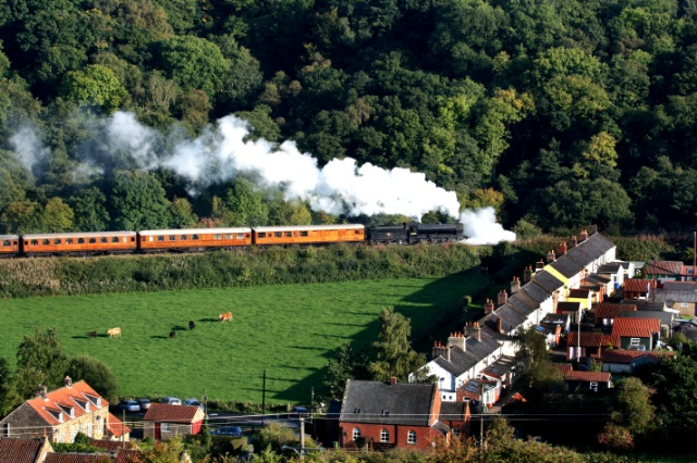Q6 on the 16.00 Grosmont to Pickering suffering badly with priming as it passes Esk Valley cotteges - Maurice Burns