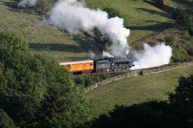 Q6 on the 16.00 Grosmont  to Pickering still priming as it  climbs towards Green End - Maurice Burns