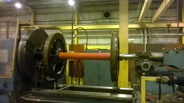 Wheelset on lathe at Sulzer York service centre - Stephen Furze