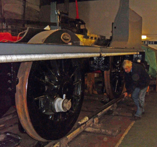 It moves! Fred Ramshaw inches the loco forward with the pinch bar - Andy Lowes