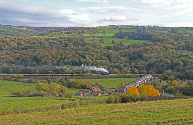 Q6 with the 13.00 ex Grosmont diner passes Esk Valley - John Hunt
