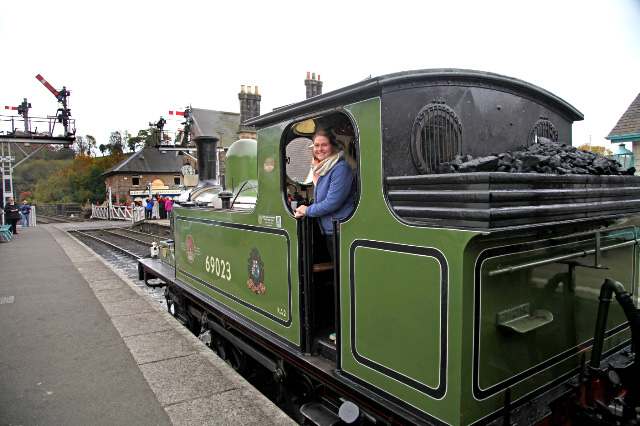 Sunday 30th, George Nissen's grand daughter Emily Simons on the J72 prior to a footplate ride to Goathland with the 11.15 saloon - Maurice Burns