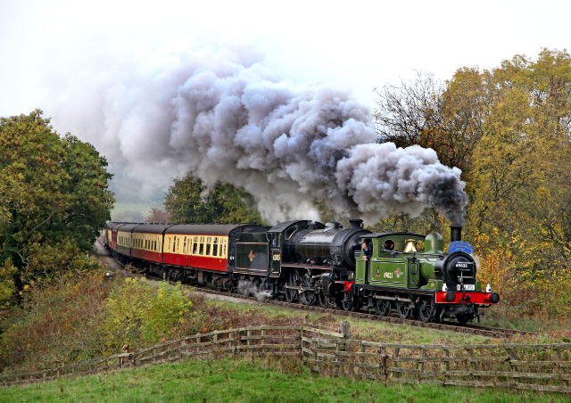 Sunday 30th the J72 and K1 double heading up the bank at Esk Valley - Maurice Burns