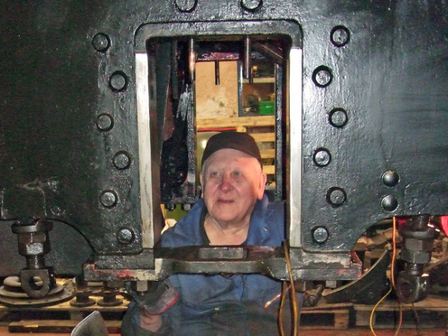 Derek cleaning the J72 frames - Colin Smith