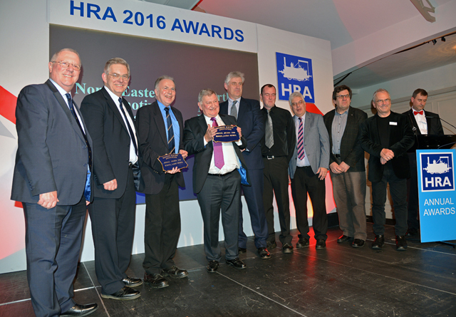 NELPG and the North Norfolk Railway were joint winners of the HRA Large Group Award at Wolverhampton on 11 February 2017. John Hunt and Chris Lawson (2nd & 3rd from left) proudly hold the award. On the far right is MC Paul Lewin, FR General Manager, and 2nd right is Sir Peter Hendy CBE, Chairman of Network Rail, who presented the award. On the extreme left, is Brian Simpson, HRA Chairman. - Peter Johnson