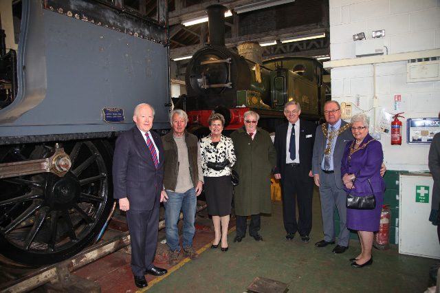 By the J27, Alistair MacConachie (Vice lord Lieutenant for Co Durham), Fred Ramshaw (NELPG J72 Locomotive Engineering Manager), Sir William McAlpine,  Sue Snowdon (Lord Lieutenant for Co Durham) Chris Lawson (NELPG Secretary),and the Mayor and Mayoress of Darlington (Councillor Brian Jones and Councillor Mrs Doris Jones BEM) - Maurice Burns