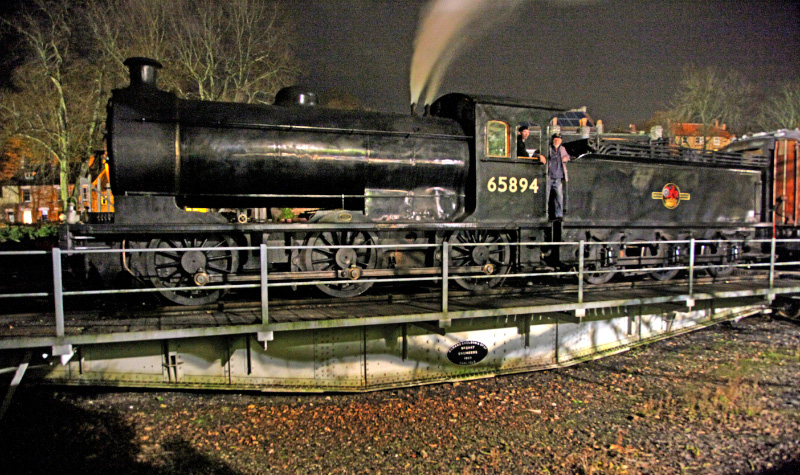 With space at Pickering a premium the J27 is placed on the turntable between shunting duties - Maurice Burns