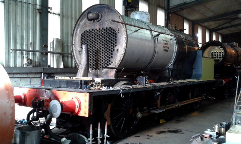 The J27 with smokebox removed stands in the fab shop on No 2 road - Chris Lawson