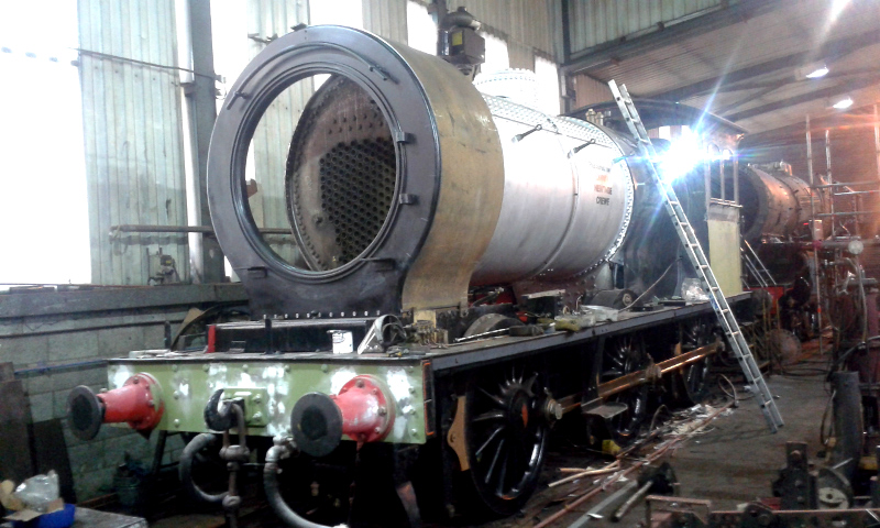 he J27 in the erecting shop at Grosmont - Chris Lawson