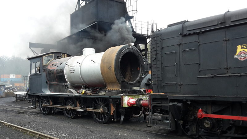 I want a steam test too. The J27 stands next to the standard 4 on steam test over the ash pit. The J27 has been dragged out to allow Eric Tracy to move to road No 4 for a boiler lift - Nigel Hall