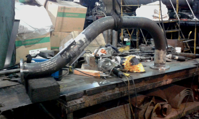 J27 steam pipe ready for final welding - Chris Lawson