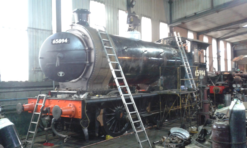 The J27 nears completion in he boiler shop at Grosmont - Chris Lawson